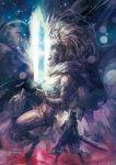 1boy bloodborne cloak hat hunter_(bloodborne) ludwig_the_accursed monster short_hair sword weapon white_hair yso_ac