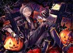 1boy abandon_ranka animal bat black_gloves cross crossed_legs full_moon gloves halloween hood horns jack-o'-lantern japanese_clothes male_focus moon open_mouth partly_fingerless_gloves silk single_wing sitting skull sky smile spider_web star_(sky) starry_sky touken_ranbu tsurumaru_kuninaga white_hair wings yellow_eyes
