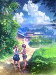 2girls aalge architecture brown_hair camisole clouds day dirt_road east_asian_architecture flower food grass ice_cream long_hair multiple_girls original sandals scenery shoes short_hair shorts skirt sky spider_lily summer twintails
