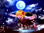 1girl :d ascot black_skirt black_vest blonde_hair fireflies flying full_body full_moon hair_ribbon highres lake long_sleeves looking_at_viewer mary_janes misty_lake moon moonlight night night_sky open_mouth outdoors outstretched_arms red_eyes red_ribbon red_shoes ribbon rumia sakipsakip shirt shoes short_hair skirt skirt_set sky smile solo spread_arms touhou white_shirt