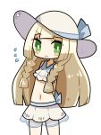 1girl arms_behind_back blonde_hair chibi dokumi dress green_eyes hat highres lillie_(pokemon) long_hair looking_at_viewer navel pokemon pokemon_(game) pokemon_sm solo sun_hat sundress swimsuit white_background