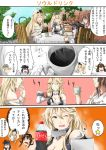 4girls 4koma akatsuki_(kantai_collection) black_hair blonde_hair blue_eyes breasts brick_wall brown_hair cleavage coca-cola coffee cola comic cup dress gloves highres iowa_(kantai_collection) japanese_clothes kantai_collection kongou_(kantai_collection) long_hair multiple_girls nontraditional_miko product_placement rack remodel_(kantai_collection) sandwich school_uniform scone serafuku sezoku soda table tea teacup translation_request warspite_(kantai_collection)