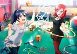 2girls ankle_lace-up ball blue_hair brown_eyes chair cross-laced_footwear dress highres holding hoop hula_hoop juggling juggling_club long_hair love_live! love_live!_school_idol_festival love_live!_school_idol_project multiple_girls nishikino_maki official_art open_mouth pantyhose ponytail puffy_sleeves redhead ribbon short_dress short_hair short_sleeves slippers smile sonoda_umi unicycle violet_eyes