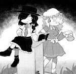 2girls book commentary_request crossed_legs dress furukawa_(yomawari) grass greyscale grin hair_over_one_eye hat maribel_hearn mob_cap monochrome multiple_girls necktie no_nose ribbon sitting skirt smile teapot tombstone touhou usami_renko