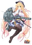 1girl black_legwear blonde_hair bow breasts character_request gloves green_eyes ground_vehicle hair_bow hair_ribbon hat highres long_hair looking_at_viewer machinery military military_vehicle motor_vehicle navel official_art personification ribbon rick_g_earth simple_background smile solo tank thigh-highs turret type_74 very_long_hair wakagi_repa white_background white_gloves zettai_ryouiki
