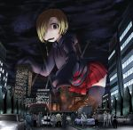 1girl bags_under_eyes black_legwear blonde_hair brown_eyes bus car city clouds debris destruction ear_piercing earrings fire from_below giantess ground_vehicle hair_over_one_eye highres hood hoodie idolmaster idolmaster_cinderella_girls jewelry motor_vehicle mouth_hold night night_sky parka people piercing searchlights shirasaka_koume short_hair sky sleeves_past_wrists terada_ochiko train