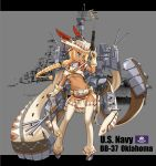 >:d 1girl :d absurdres anchor arm_up belt blonde_hair blue_eyes blush braid breasts cannon cape chain character_name covered_nipples dark_skin feathers flag_of_the_united_states_navy full_body gloves gun handgun hat highres holding holding_gun holding_weapon legs_apart long_hair looking_to_the_side machinery mechanical_arms midriff military military_vehicle navel official_art oklahoma_(zhan_jian_shao_nyu) open_mouth pelvic_curtain photo_background poster_(object) radar remodel_(zhan_jian_shao_nyu) revolver ship sirills smile solo standing teeth text thigh-highs trigger_discipline turret under_boob uss_oklahoma_(bb-37) warship watercraft weapon white_gloves white_hat white_legwear zhan_jian_shao_nyu