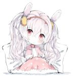 1girl animal_ears animal_print azur_lane bangs bunny_print camisole cottontailtokki eyebrows_visible_through_hair fur_trim hair_between_eyes hair_ornament hairband head_tilt highres jacket laffey_(azur_lane) long_hair long_sleeves looking_at_viewer open_clothes open_jacket pillow pink_jacket rabbit_ears red_eyes red_hairband silver_hair solo twintails under_covers very_long_hair white_background white_camisole