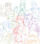 anchor_symbol bandana camera choker cup diamond drinking_glass earrings erina_pendleton f_chiyo facial_mark flower grin hair_flower hair_ornament headband higashikata_jousuke highres jean_pierre_polnareff jewelry jojo_no_kimyou_na_bouken kakyouin_noriaki kars_(jojo) lineart long_hair messy_hair mohammed_avdol necktie nijimura_okuyasu open_mouth paper pompadour ponytail robert_eo_speedwagon rose scar smile stud_earrings suspenders suzi_q sweatdrop tattoo terence_trent_d'arby tray whistle wine_glass