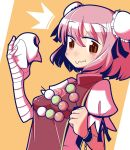 /\/\/\ 1girl bandaged_arm bandages blush brown_eyes chain chinese_clothes colored dango double_bun dumpling eating food hair_bun ibaraki_kasen looking_at_viewer maru_rx pink_hair puffy_short_sleeves puffy_sleeves short_hair short_sleeves simple_background solo touhou wagashi