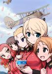 >:) >:d 6+girls :d aegis_(nerocc) aircraft airplane assam bangs biplane blonde_hair blue_eyes bow braid brown_eyes brown_hair cherry_blossoms closed_mouth clouds cloudy_sky commentary cup darjeeling emblem extra eyebrows eyebrows_visible_through_hair flag girls_und_panzer hair_bow hair_over_shoulder hair_ribbon holding holding_cup jacket long_hair long_sleeves looking_at_another looking_at_viewer multiple_girls open_mouth orange_hair orange_pekoe parted_bangs red_jacket redhead ribbon rosehip roundel rukuriri saucer short_hair single_braid sky smile teacup tied_hair twin_braids vehicle_request