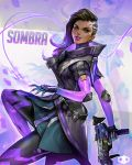 1girl absurdres black_hair character_name dark_skin eyeshadow gun high_collar highres jeremy_chong lipstick looking_at_viewer machine_pistol makeup mole mole_under_eye multicolored_hair overwatch purple_hair purple_lipstick smile solo sombra_(overwatch) two-tone_hair undercut violet_eyes weapon