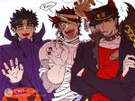 3boys animal_ears bandage_over_one_eye black_hair black_nails blue_eyes brown_hair cape chain cigarette coat collar fangs hat jojo_no_kimyou_na_bouken jonathan_joestar joseph_joestar_(young) kuujou_joutarou male_focus multiple_boys mummy_(cosplay) nail_polish open_mouth red_nails spiked_collar spikes sweat tail tongue tongue_out violet_eyes watermark wolf_ears wolf_tail yway1101