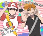 ;) arms_up baseball_cap brown_eyes brown_hair copyright_name grin hat highres kometubu0712 male_focus one_eye_closed ookido_green ookido_green_(sm) pokemon pokemon_(game) pokemon_sm red_(pokemon) red_(pokemon)_(sm) shirt smile spiky_hair star striped striped_background t-shirt z-move z-ring