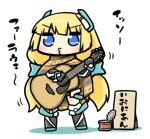1girl acoustic_guitar angela_balzac blue_eyes blush bodysuit chibi eyebrows eyebrows_visible_through_hair full_body guitar headgear holding_instrument instrument long_hair low_twintails motion_lines music playing_instrument poncho puckered_lips rakuen_tsuihou serizawa_enono shadow sign simple_background solo standing tin_can translation_request twintails very_long_hair white_background