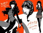 1girl black_hair genderswap genderswap_(mtf) glasses kurusu_akira long_hair mask persona persona_5 ponytail smile translation_request