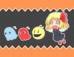 +_+ 1girl akabei aosuke black_background black_skirt black_vest blonde_hair blush_stickers chasing crossover fangs flying_sweatdrops ghost hair_ribbon long_sleeves matty_(zuwzi) necktie open_mouth outstretched_arms pac-man pac-man_(game) pac-man_eyes red_eyes red_necktie red_ribbon red_shoes ribbon rumia shoes short_hair skirt smile spread_arms touhou
