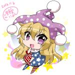 1girl :d american_flag_dress american_flag_legwear blonde_hair blush chibi clownpiece fairy_wings finger_to_mouth fire flame hat highres jester_cap long_hair neck_ruff noai_nioshi open_mouth pom_pom_(clothes) signature smile solo star torch touhou tsurime very_long_hair violet_eyes wavy_hair wings
