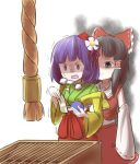 <o>_<o> 2girls aura black_hair bow box comic commentary_request dark_aura detached_sleeves donation_box flower grey_eyes hair_bow hair_flower hair_ornament hair_ribbon hair_tubes hakurei_reimu heavy_breathing hieda_no_akyuu highres japanese_clothes kimono long_sleeves money multiple_girls nontraditional_miko peroponesosu. purple_hair ribbon shaded_face sweat touhou trembling violet_eyes wallet wide-eyed wide_sleeves