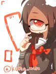 +_+ 1girl adjusting_glasses ahoge bangs bow braid brown_hair cyclops glasses hair_bow looking_at_viewer muroku_(aimichiyo0526) necktie one-eyed open_mouth orange_eyes original red_necktie side_braid simple_background solo swept_bangs thought_bubble twitter_username upper_body viewfinder white_background