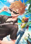 2boys alolan_exeggutor baseball_cap beach black_hair brown_hair exeggutor hat highres looking_over_sunglasses male_focus miimmiim3333 multiple_boys ocean ookido_green ookido_green_(sm) pikachu pokemon pokemon_(creature) pokemon_(game) pokemon_sm red_(pokemon) red_(pokemon)_(sm) shirt spiky_hair sunglasses t-shirt