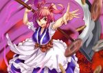1girl abe_ranzu breasts coin fang japanese_clothes kimono kimono_skirt large_breasts obi onozuka_komachi open_mouth pink_eyes pink_hair puffy_short_sleeves puffy_sleeves sash scythe short_sleeves touhou two_side_up
