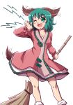1girl ;d animal_ears bamboo_broom broom dress green_eyes green_hair highres kasodani_kyouko mazume one_eye_closed open_mouth smile tail touhou