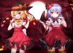 2girls :d absurdres bat bat_wings blonde_hair blue_hair demon_tail dress fang flandre_scarlet frilled_dress frills full_moon halloween hanen_(borry) hat highres mini_hat mini_top_hat moon multiple_girls night open_mouth papo red_eyes remilia_scarlet short_hair smile tail top_hat touhou tree wings witch_hat wrist_cuffs