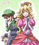 akizuki_ritsuko amami_haruka blonde_hair blush braid brown_eyes brown_hair cosplay costume crown dress earrings elbow_gloves facial_hair fake_mustache food_as_clothes fuugetsu_makoto glasses gloves green_eyes hat hoshii_miki idolmaster jewelry long_hair luigi luigi_(cosplay) mustache nintendo nonowa oekaki onigiri overalls princess_peach princess_peach_(cosplay) smile super_mario_bros. sushi sweatdrop toad toad_(cosplay) turtleneck twin_braids wink