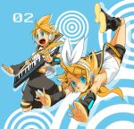 blue_eyes hair_ornament hair_ribbon hairclip headphones headset jumping kagamine_len kagamine_rin mknown mori_(unknown.) necktie open_mouth ribbon short_hair shorts siblings smile twins vocaloid