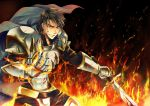 armor belt black_hair blood cape fire gensou_suikoden gensou_suikoden_ii gloves grin kinota luca_blight male messy_hair pauldron pauldrons smile solo suikoden suikoden_ii sword weapon yellow_eyes