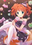 blue_eyes bow candy food hat idolmaster orange_hair star stockings tagme takatsuki_yayoi witch