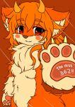 artist_request dog furry horns original paw red_eyes redhead short_hair tagme