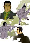 aiming black_hair cigarette duke_tougou golgo_13 gun makacoon suit weapon