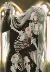 1boy black_nail_polish bracelet braid earrings grey_hair jewelry kuroshitsuji long_hair male_focus official_art open_mouth rose scan skeleton smile solo stitches tagme toboso_yana undertaker