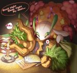artist_request english florges furry kissing pokemon sleeping trevenant