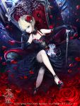 1girl armchair bare_knees black_dress chair dadachyo dress dutch_angle exposed furyou_michi_~gang_road~ gloves high_heels holding_object legs_crossed lens_flare lipstick long_gloves makeup red_flower rose rose_petals shoulders
