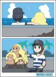 1boy alolan_dugtrio blonde_hair comic dugtrio hat looking_at_viewer nature nintendo ocean outdoors plant pokemon pokemon_(game) pokemon_sm sitting sky smile water