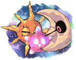 10s full_body lunatone minior minior_(shields_down) no_humans pokemon pokemon_sm simple_background solo solrock tagme