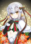 1girl bell black_gloves blurry bokeh bow capelet christmas crescent depth_of_field elbow_gloves eyebrows eyebrows_visible_through_hair fate/grand_order fate_(series) flat_chest flower fur_trim gloves grey_hair headpiece highres hilo_(joy_hero) jeanne_alter jeanne_alter_(santa_lily)_(fate) looking_at_viewer night night_sky parted_lips poinsettia pom_pom_(clothes) ribbon ruler_(fate/apocrypha) short_hair sky solo sparkle star star_(sky) starry_sky upper_body yellow_eyes