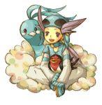 1girl altaria artist_request bird collar female gloves gym_leader hat helmet nagi_(pokemon) pokemon pokemon_(creature) pokemon_(game) pokemon_rse simple_background sitting smile solo taillow white_background