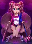 1girl baseball_bat batman_(series) female full_body gradient gradient_background harley_quinn harley_quinn_(cosplay) mallet my_little_pony my_little_pony_equestria_girls personification solo sunset_shimmer tagme uotapo