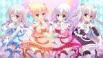 4girls breasts character_request cleavage dress female group logo multiple_girls psychic_hearts thigh-highs yuyumatsu