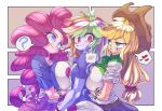 3girls applejack blonde_hair blue_eyes breast_envy breast_press breasts green_eyes grin huge_breasts kaikoinu multiple_girls my_little_pony my_little_pony_equestria_girls my_little_pony_friendship_is_magic pink_hair pinkie_pie rainbow_dash red_eyes rose_eyes small_breasts smile