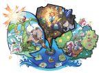 alolan_raichu berries bounsweet charjabug crabrawler crystal cutiefly drampa fomantis gem highres island lycanroc no_humans ocean official_art oricorio oricorio_(baile_style) oricorio_(pom-pom_style) passimian pokemon pokemon_(creature) pokemon_sm pyukumuku raft raichu rockruff sun togedemaru windmill