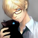 1boy 2016 asymmetrical_bangs bespectacled black_cat_(animal) black_necktie blonde_hair blue_eyes bust cat dress_shirt glasses hair_over_one_eye male_focus necktie one_piece pixiv_id_4407132 sanji solo white_shirt