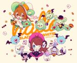 1boy 1girl animal_ears black_legwear blue_eyes bonnet bow brown_eyes brown_hair candy chandelure checkerboard_cookie cookie copyright_name cosplay cup duosion fake_animal_ears ghost ghost_costume gothorita gothorita_(cosplay) halloween hat heart heart-shaped_pupils jack-o-lantern litwick oshawott pokemon pokemon_bw reuniclus reuniclus_(cosplay) saucer solosis striped_legwear sugar_cube symbol-shaped_pupils teacup teapot touko_(pokemon) touya_(pokemon) wand welchino white_shoes wink wizard_hat woobat