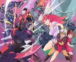 2015 2boys 2girls armor breasts brown_eyes brown_hair chururu dagger galient green_eyes hilmuka jordy_vorder kikou-kai_galient knife kujira_gunsou lance large_breasts long_hair mardoul mecha multiple_boys multiple_girls promaxis red_eyes redhead shield sword zuwel