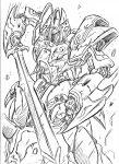 galient kikou-kai_galient mecha monochrome s.shimizu solo sword weapon white_background
