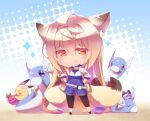 1girl :> animal_ears blonde_hair blush blush_stickers brown_eyes chibi dragonair dratini eyebrows eyebrows_visible_through_hair food fox_ears fox_tail hair_between_eyes halftone halftone_background hands_on_hips holding holding_food long_hair multiple_tails original pikachu poke_ball pokemon pokemon_go shaneru smirk sparkle standing tail very_long_hair